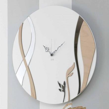 Reloj de pared moderno y redondo con diseño de madera decorada - Harmony