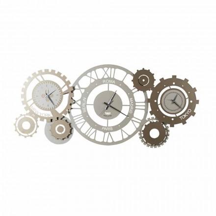 Reloj de pared moderno de hierro con tres fusibles Made in Italy - Mecánico