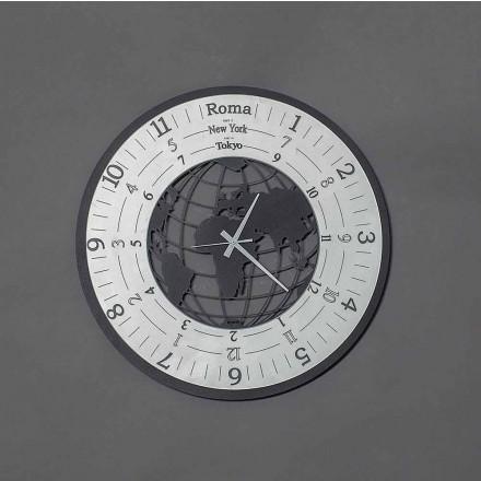 Reloj de pared moderno en hierro negro o pizarra Hecho en Italia - World