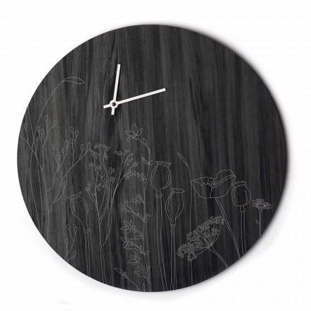 Reloj de pared de madera de diseño redondo moderno y grabado láser - Florinto