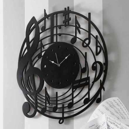 Reloj de pared redondo negro de diseño moderno en madera decorada - Música