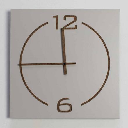 Reloj de pared de diseño cuadrado y moderno en madera beige y marrón - Tabata