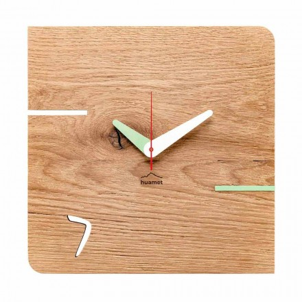 Reloj de pared cuadrado en madera de roble Made in Italy - Chicago