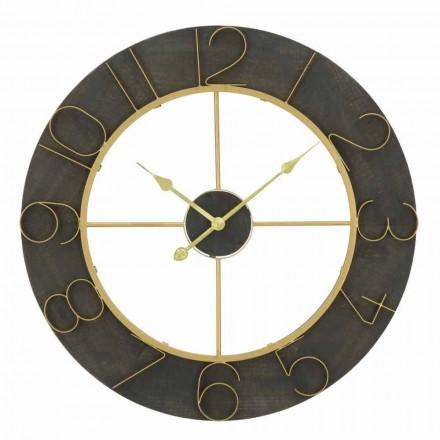 Reloj de pared redondo Diámetro 70 cm Diseño moderno en hierro y MDF - Tonia