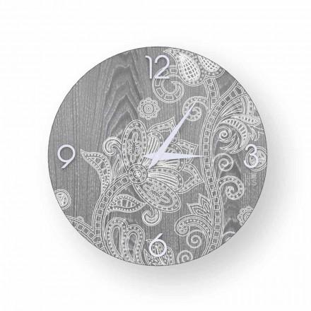 Reloj de pared redondo en madera, diseño moderno, Meolo, hecho en Italia.