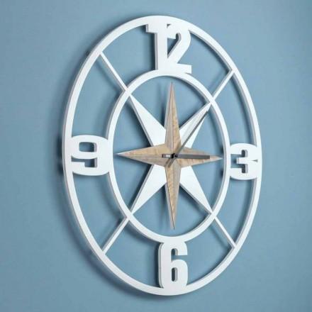 Diseño de reloj de pared grande en madera blanca y marrón en mal estado - Bisagra