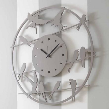 Reloj de pared grande de diseño moderno en madera redonda de colores - Birds