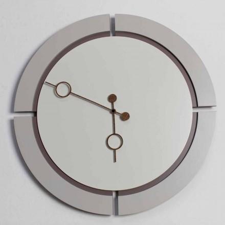 Reloj de pared redondo grande de diseño moderno en madera marrón y beige - Osvego