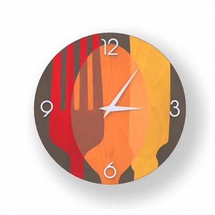 Reloj de pared Agra en madera, diseño moderno, hecho en Italia.