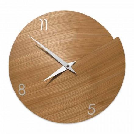 Reloj de pared moderno hecho a mano en madera natural - Cratere