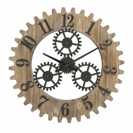 Reloj de pared redondo de diseño moderno en hierro y MDF - Gitta