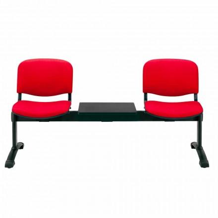 Banco para sala de espera 2 asientos en tejido, cuero ecológico o haya - Carmela