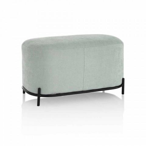 Banco para sala de estar o dormitorio en tela de diseño verde menta - Ambrogia