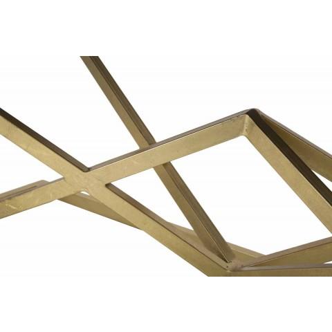 Banco rectangular de diseño moderno en hierro y tela - Haily