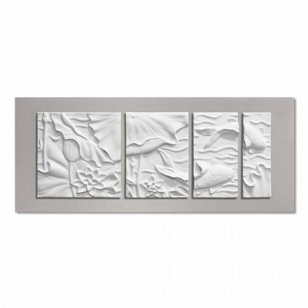 Panel decorativo de pared Diseño moderno Cerámica blanca y gris - Giappoko