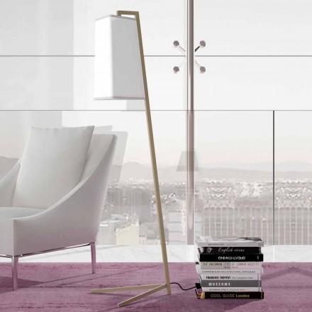Lámpara de pie de metal con pantalla moderna de algodón blanco Made in Italy - Barton