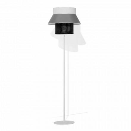 Lámpara de pie moderna en metal y pantalla en algodón y ratán Made in Italy - Sailor