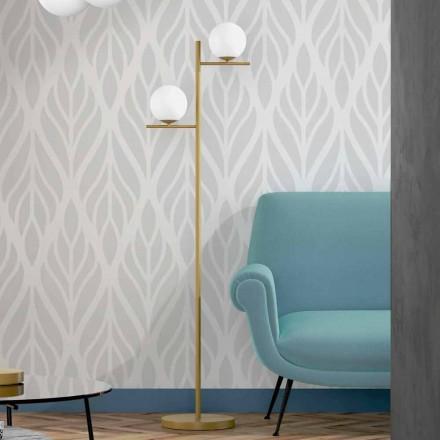 Lámpara de pie moderna en metal acabado latón y cristal opal Made in Italy - Carima