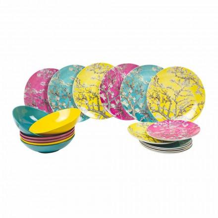 Platos de porcelana y gres de colores Servicio de mesa moderno 18 piezas - Nagoya
