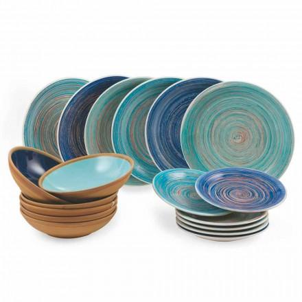 Planchas de colores y modernas 18 piezas en gres Servicio completo de mesa - Egadi