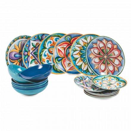 Placas étnicas de colores y modernas en porcelana y gres Servicio de 18 piezas - Maia
