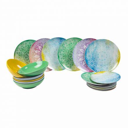 Platos de colores en porcelana 18 piezas Serving Table - Ipanema