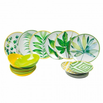 Placas de colores en porcelana y servicio moderno Gres 18 piezas completas - Albore