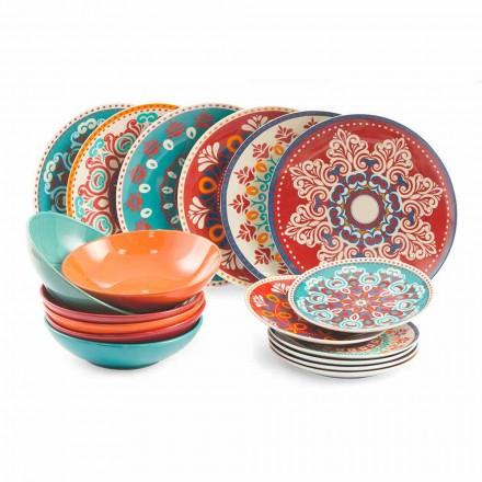 Platos étnicos 18 piezas Servicio de mesa de gres porcelánico y color - Persia
