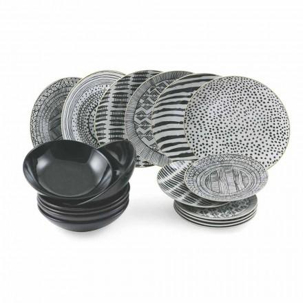 Platos de Porcelana y Gres Negro Servicio de Mesa Completo 18 Piezas - Tribu