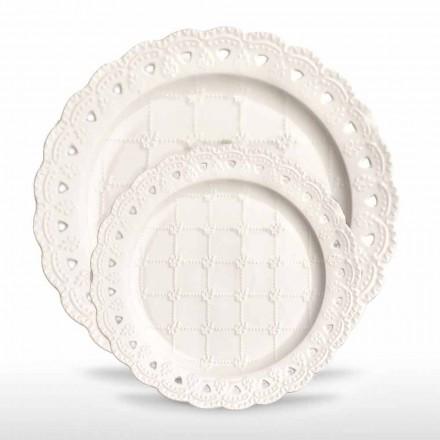 Plato Favor 12 Piezas en Porcelana Blanca Decorada a Mano - Rafiki