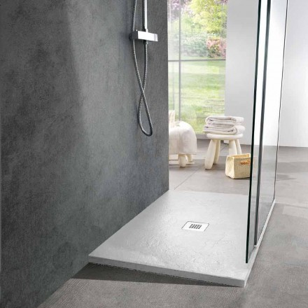 Plato de ducha 100x70 en resina blanca efecto pizarra - Sommo
