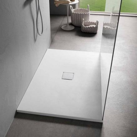Plato de ducha de resina 120x80 en acabado moderno efecto terciopelo blanco - Estimo