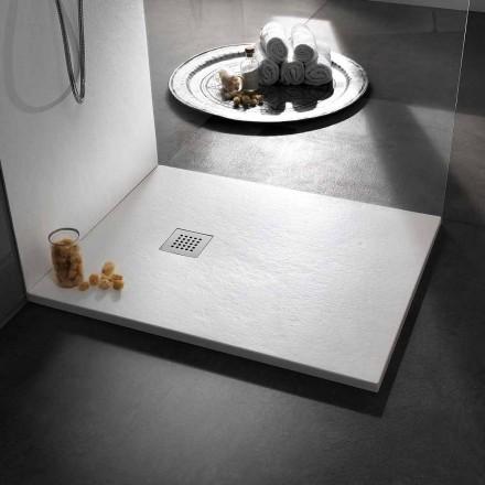 Plato de ducha de diseño moderno en resina efecto piedra 100x70 - Domio