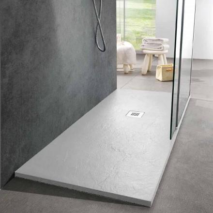 Plato de ducha moderno 170x80 acabado efecto pizarra en resina blanca - Sommo