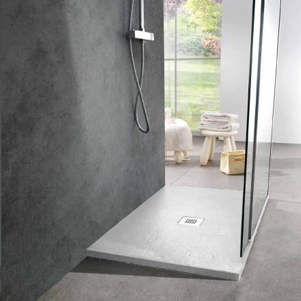 Plato de ducha moderno 90x70 de resina blanca efecto pizarra - Sommo