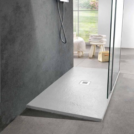 Plato de ducha moderno en resina blanca efecto pizarra 140x90 - Sommo