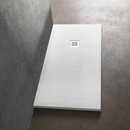 Plato de ducha moderno rectangular 160x80 en resina efecto piedra - Domio