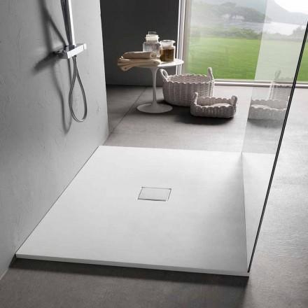 Plato de ducha cuadrado 80x80 cm resina blanca efecto terciopelo - Estimo