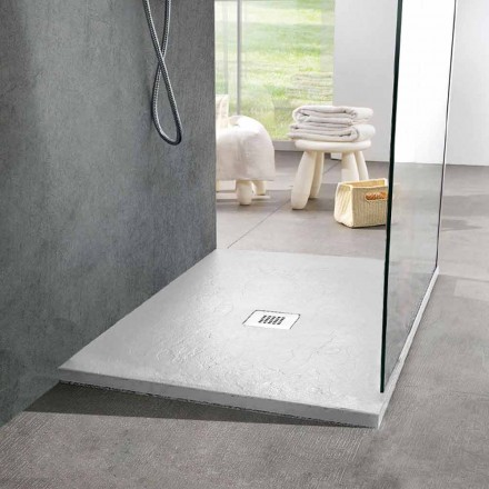 Plato de ducha cuadrado 80x80 de resina efecto pizarra blanca y acero - Sommo