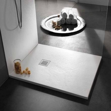 Plato de ducha cuadrado 80x80 de resina con acabado moderno efecto piedra - Domio