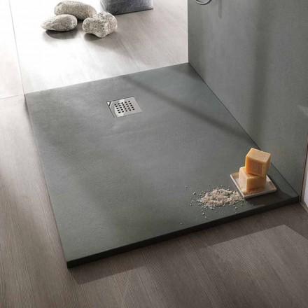 Plato de ducha rectangular 100x80 en resina acabado efecto cemento - Cupio