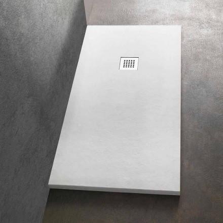 Plato de ducha rectangular 140x90 en resina acabado efecto piedra - Domio