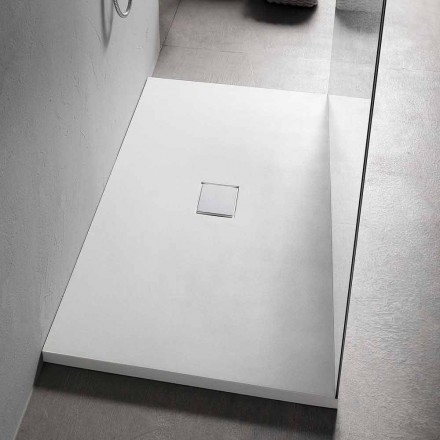 Plato de ducha rectangular 160x70 cm en resina blanca de diseño moderno - Estimo