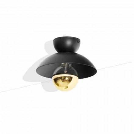 Lámpara de techo de diseño de metal con detalle de acabado dorado Made in Italy - Valta