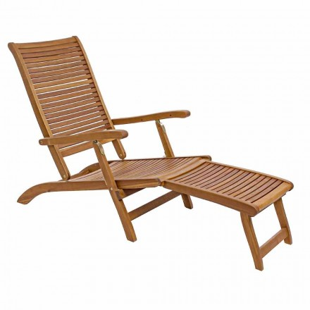 Chaise Longue reclinable al aire libre en madera natural - Roxen