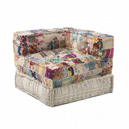 Sillón Chaise Longue de diseño étnico en algodón patchwork, para sala de estar - Fibra