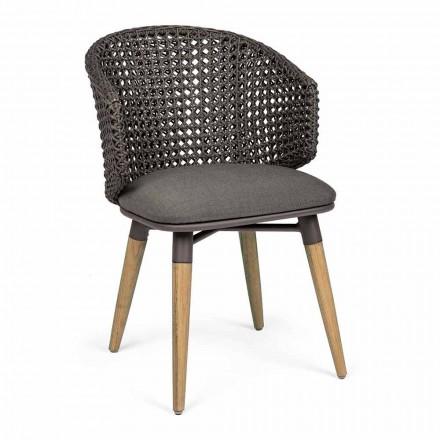 Sillón de jardín con patas de teca y asiento de tela, Homemotion - Chantall