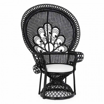 Sillón de jardín de diseño de lujo para exterior en ratán negro - Serafino
