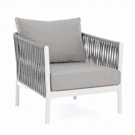 Sillón de jardín de aluminio, fibra sintética y tela Homemotion - Rubio