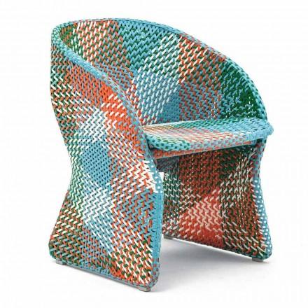 Sillón de jardín de fibra sintética trenzada de colores - Maat by Varaschin